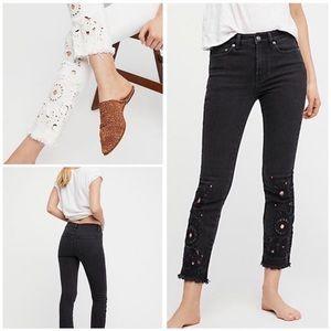 Free People Cutwork Black Skinny Jeans